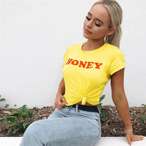 Honey Letter Print T Shirt Women Short Sleeve O Neck Loose Yellow Tshirt 2019 Summer Women Tee Shirt Tops Camisetas Mujer