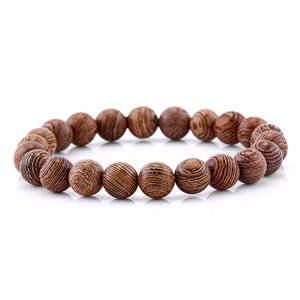 8mm Natural Wenge Wood Beaded Elastic Bracelet For Woman Men Buddha
