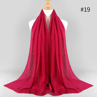 Fashion pleated maxi crinkled hijabs scarf elegant shawl plain maxi muslim hijab women wrinkle scarves shawls soft muffler 1 pc