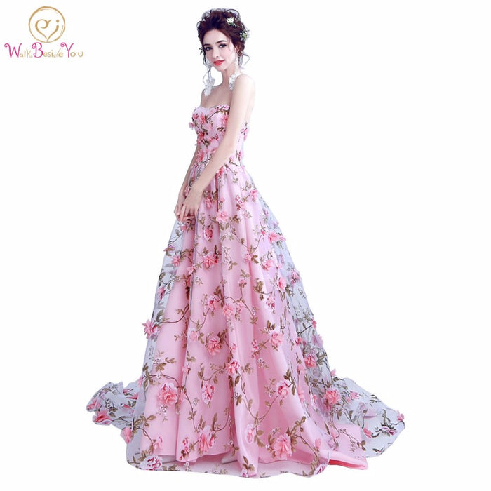 Walk Beside You Pink Flowers Prom Dresses 2019 Long Strapless Sweetheart