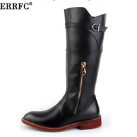 ERRFC British Trend Red Knee High Boots Men Round Toe Cowboy PU Leather