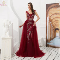 Luxury Mermaid Prom Dresses 2019  Wine Red/Gray Sweep Train Sleeveless