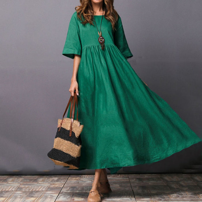 Women T Shirt Dress Summer Green Trumpet Plain New Summer Ankle Length