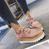 COOTELILI  Spring Women Shoes Flat Platforms Rhinestone Lace-Up Wedges