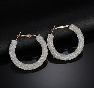 New Design Fashion Charm Austrian crystal hoop earrings Geometric Round Shiny