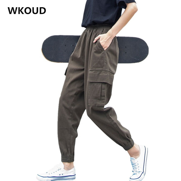 WKOUD Plus Size 5XL Cargo Pants For Women Solid Loose Big Pockets Sweatpants Casual BF Ankle-Length Trousers Female Pant P8800
