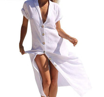 Long Ankle-Length Dresses Women Cotton White Sexy V-Neck Straight