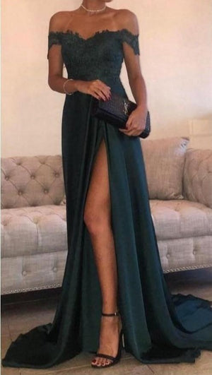 Dark Green 2019 Prom Dresses Mermaid Off The Shoulder Slit Sexy Party Maxys
