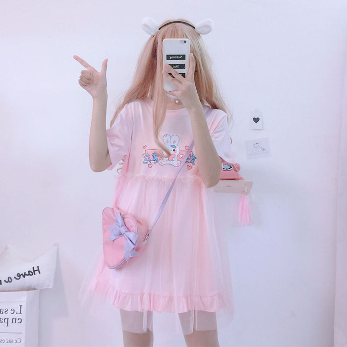 Summer Lolita Dresses 2019 Japanese Kawaii Rabbit Cute Anime Short Sleeve