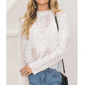 hirigin women ladies blouse long sleeve white Lace hollow turtleneck blouse Top Summer Blouses Cap Elegant Blouse for female