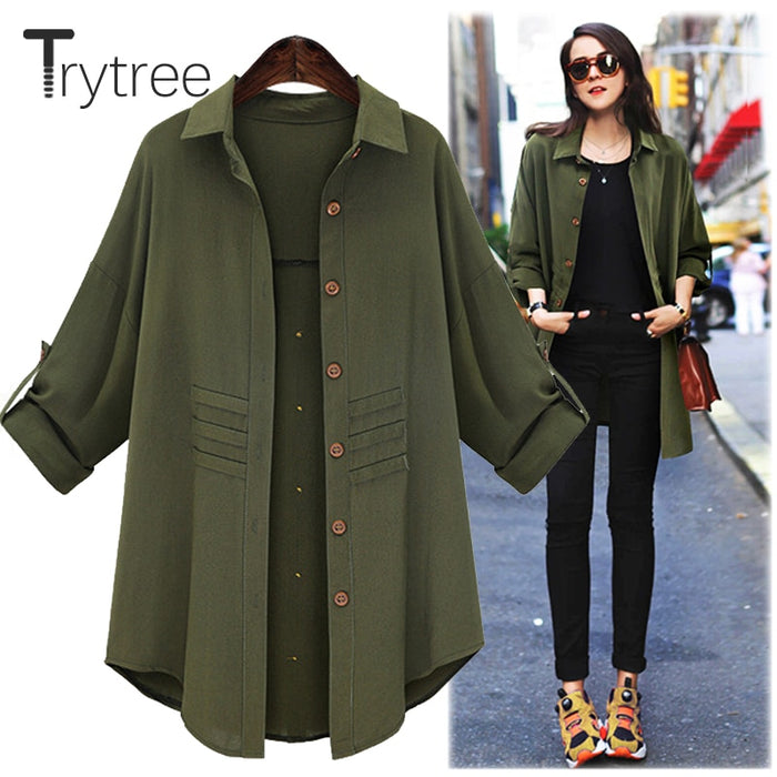 Trytree Spring Summer Women Long Blouse Casual Polyester shirt Turn-down Collar
