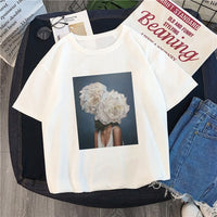 New Harajuku Aesthetics Tshirt Sexy Flowers Feather Print Short Sleeve Tops Tees Summer Fashion kawaii Casual Sweet Lady T-Shirt