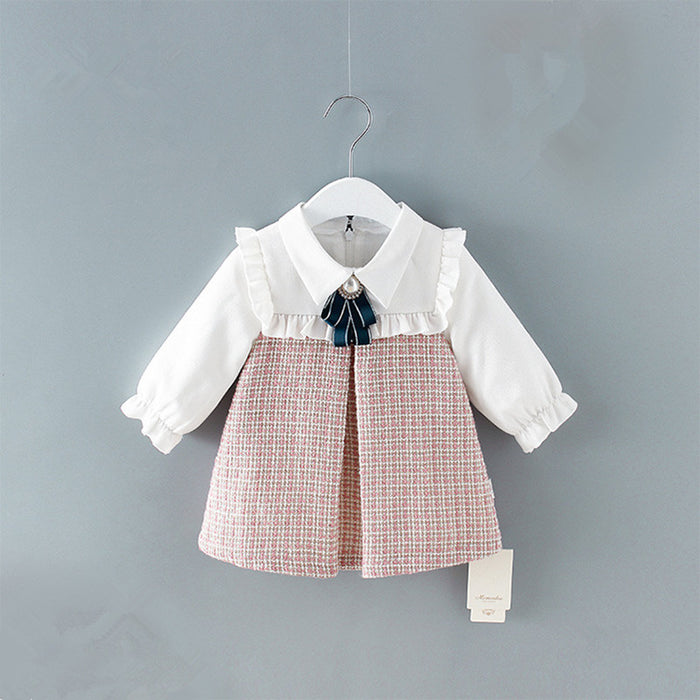 Cute Newborn Infant Toddler Baby Girls Dress A-line Lantern Sleeve Kids Dress Plaid Clothes 0-2Y