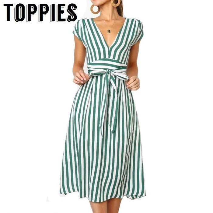 2019 Summer Short Sleeve Striped T Shirt Dress Drawstring High Waist Elegant