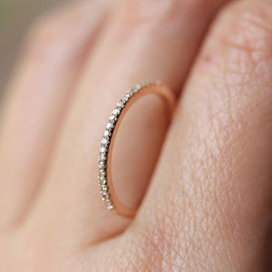 Simple Cubic Zirconia Thin Rings for Woman Elegant Rose Gold color Bridal