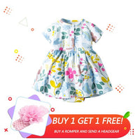 Cotton Baby Dresses for Girl Cartoon Newborn Baby Girl Dresses Toddler Princess Short Sleeve Dress Casual Flora Romper Clothes