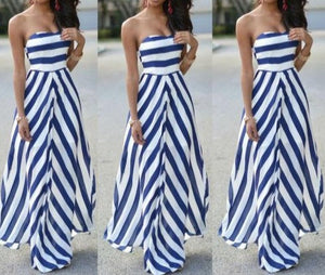 NEW Womens Off Shoulder Striped Maxi Dress Summer Party Long Maxi