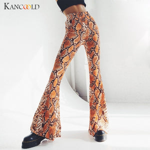 KANCOOLD Pants Fashion Women Sexy Slim Pack Hip Stretch Flare Pants Wild Elastic Waist print party new pants woman 2018dec31