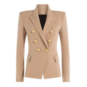 Autumn Winter Runway Designer Formally Blazer Women Gold Lion Buttons