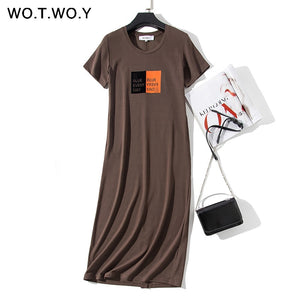 Long Dresses Women Plus Size O-neck Short Sleeve  Casual Straight  Midi Dresses