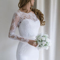 LORIE Mermaid Wedding dress Chiffon and Satin and Lace Long sleeve Wedding Dress