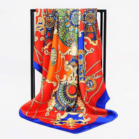 Summer Satin Scarf Gradient Printed Women Silk Scarf Fashion Square Shawls