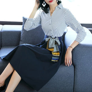 Women Fashion V-Neck Shirt Dress Women Casual Stripe Patchwork A-line Dresses