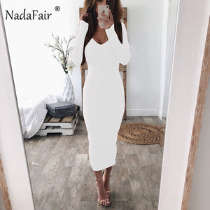 Nadafair sexy bodycon dresses women v neck long sleeve stretchy club party midi dress knitted sweater casual pencil long dress