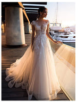 Wedding Dress Lace Appliques With Flowers Tulle A-Line Sexy Backless Beach Bride