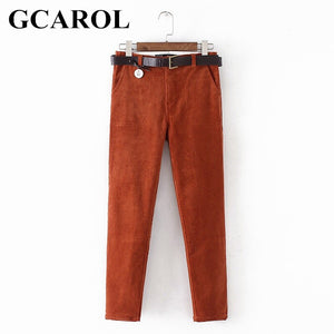 GCAROL Euro Style Harem Pants Corduroy Fashion Harem Trousers With Free Belt