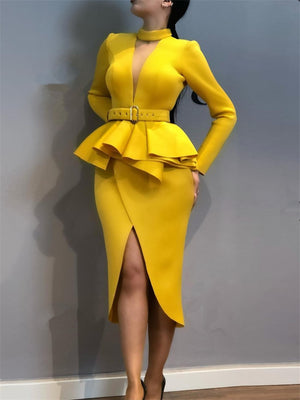Women Slim Dress with Waist Belt Peplum Split Long Sleeves Office Lady Fashion Wear Elegant Fake Two Pieces Sets Classy Clothes
