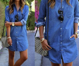 Womens Blue Jeans Denim T-Shirt Long Sleeve Casual Loose Shirt Short Dress