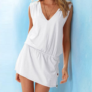 Women Sundress Casual Summer Beach Dress Sexy V Neck Backless Tight Waist Short Dress Boho Sleeveless Loose Dresses Green White