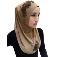 Ladies Lace Embroidery Headband Hijab Islamic Scarves Bonnet Shawls Muslim Scarf Women Hijab Islamic 2019 11 Colors high quality