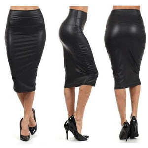 Pencil Skirts Women PU Leather Skirt Solid Color High Waist Slim Hip