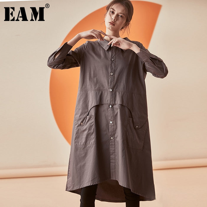 [EAM] 2019 New Spring Summer Lapel Long Sleeve Black Loose Pocket Split