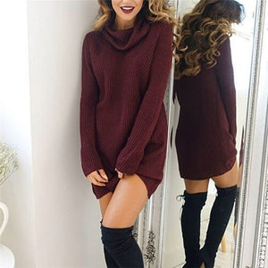 Turtleneck long sleeve knitted sweater long winter women's sweater dress pullover jumper women korean sweaters sexy party midi