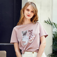 ARTKA New Summer Women Personality Variety Sequins Short Sleeve Loose Lady O-neck Cotton Basic T-shirt TA15184X