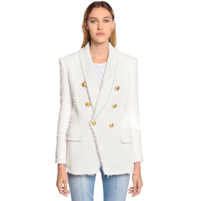 Designer Blazer Women's Shawl Collar Double Breasted Lion Buttons Tassel Tweed