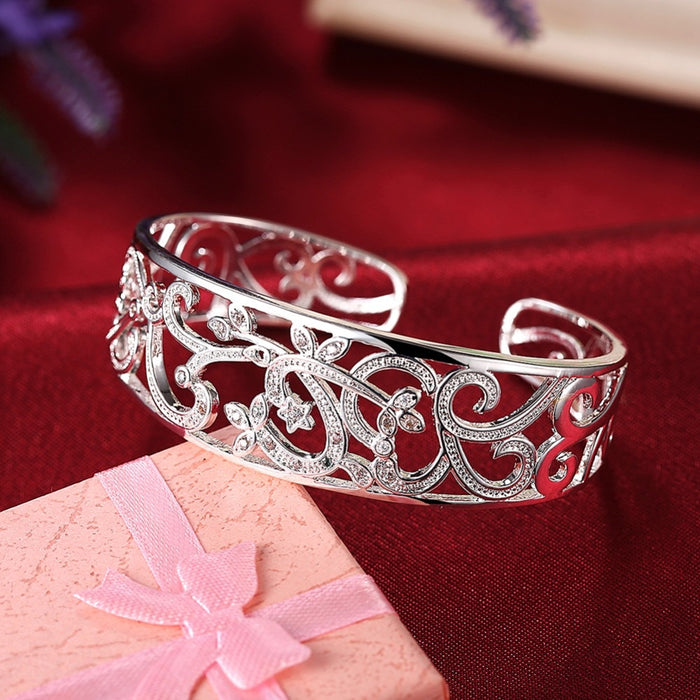 Pure Silver 925 Bangle Bracelets for Women Adjutable Wrist Cuff Bangle Zirconia