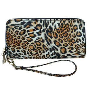 MIRROR SUNNY New PU women long wallet leopard zipper wallet high quality