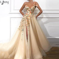2019 Gorgeous Champagne One Shoulder Prom Dresses Ruched A Line Front Slit Tulle