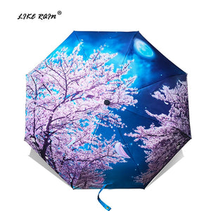 LIKE RAIN Folding Umbrella Female Van Gogh Painting Chinese Art Sakura Umbrellas Rain Women Windproof Anti-UV Sun Parasol YHS03