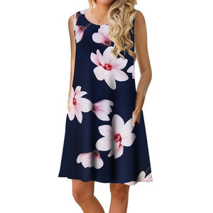 Women Dresses A-line Sleeveless Pockets Mini Beach Dresses Plus Size O-neck 2019 New Summer Printed Dress Casual Sundress
