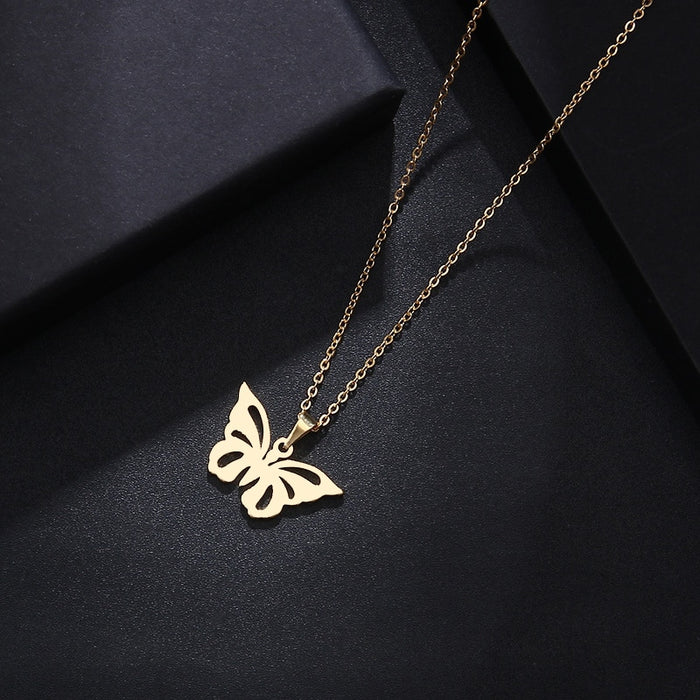 DOTIFI Stainless Steel Necklace For Women Man Lover's Hollow Butterfly