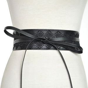 Badinka 2019 New Korean Black White Red Wide Corset Waist Lace Belt Female Waistband Belts for Women Waist Band Cinturon Mujer