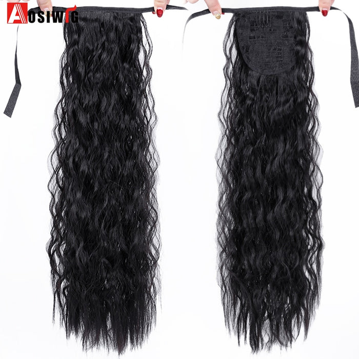 AOSIWIG Long Curly Hair Done Clip Extension Natural Seamless Ponytail Wig High Temperature Synthetic Fiber Wig