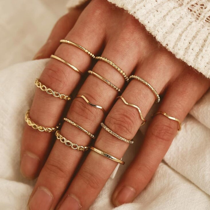 DIEZI Vinatge Fashion Boho Beach Knuckle Joint Rings Set For Women 3 Style Gold Color Finger Rings