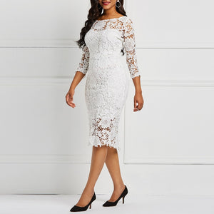 Evening Party Date Women White See Through Hollow Out Floral Lace Bodycon Dress