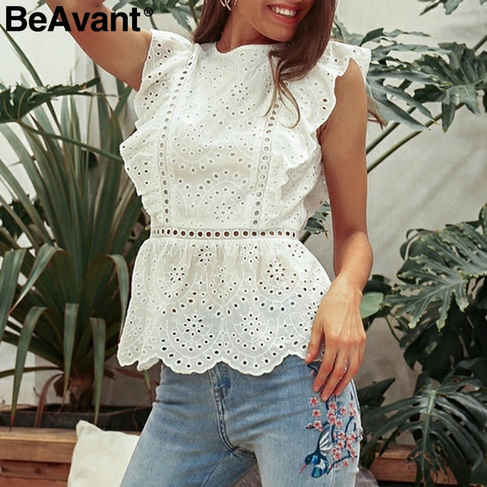 BeAvant Elegant summer cotton white blouse shirt women  Vintage ruffle  ladies peplum tops female High waist hollow out tank top